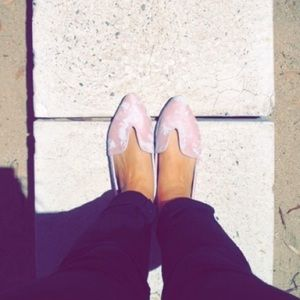 Pink and white loafers/flats from Anthropologie